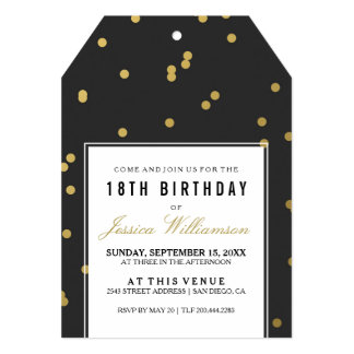 18th Birthday Party | Trendy Gold Polka Card