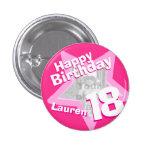 18th Birthday photo fun hot pink button/badge 3 Cm Round Badge