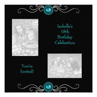 18th Birthday Photos Black Silver Green Blue Jewel Personalized Invitation