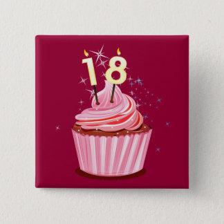 18th Birthday - Pink Cupcake 15 Cm Square Badge