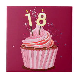 18th Birthday - Pink Cupcake Small Square Tile