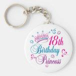 18th Birthday Princess Basic Round Button Key Ring