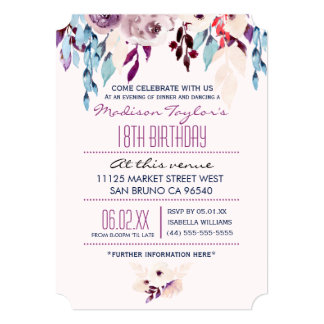 18th Birthday Purple & Turquoise Watercolor Flower 13 Cm X 18 Cm Invitation Card