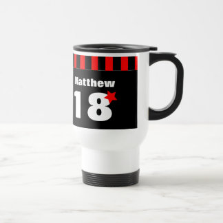 18th Birthday Red Black Stripes and Star R11Z Stainless Steel Travel Mug