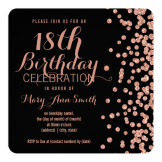 18th Birthday Rose Gold Faux Glitter Confetti Blac Card