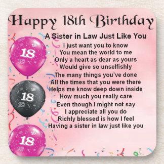18th Birthday - Sister in Law Poem Drink Coaster
