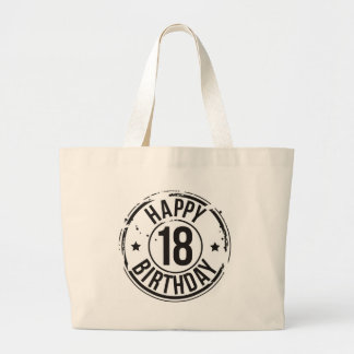 18TH BIRTHDAY STAMP EFFECT LARGE TOTE BAG
