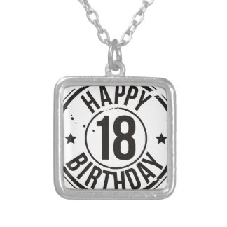 18TH BIRTHDAY STAMP EFFECT SILVER PLATED NECKLACE