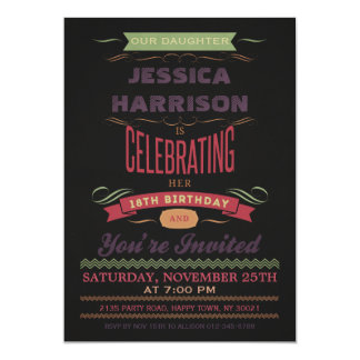 18th Birthday Vintage Chalkboard Typography 13 Cm X 18 Cm Invitation Card