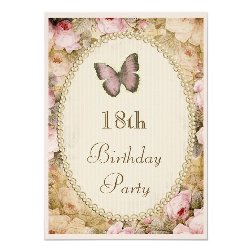 18th Birthday Vintage Roses Butterfly, Music Notes 13 Cm X