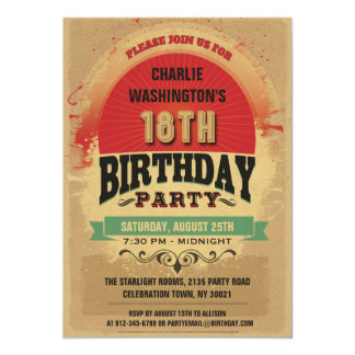 18th Birthday Vintage Typography Grunge 5x7 Paper Invitation Card