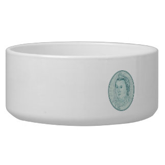 18th Century European Empress Bust Oval Drawing Dog Water Bowls