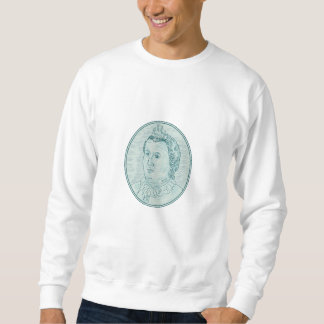 18th Century European Empress Bust Oval Drawing Sweatshirt