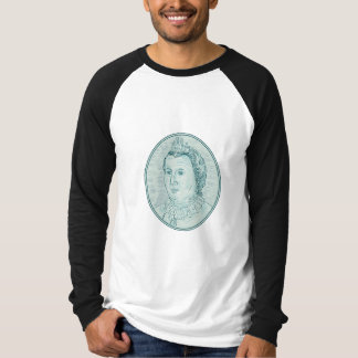 18th Century European Empress Bust Oval Drawing T-Shirt