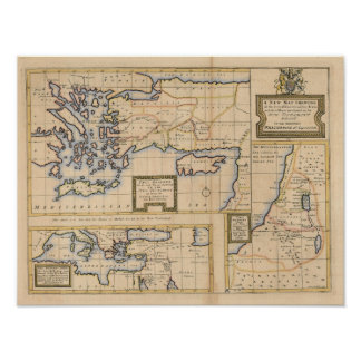 18th Century New Testament Map Poster