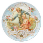 18th Century Romantic French Couple at Harpsicord Party Plate
