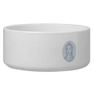 18th Century Russian Empress Bust Oval Drawing Dog Bowls