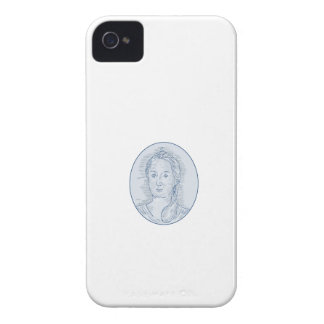 18th Century Russian Empress Bust Oval Drawing iPhone 4 Case-Mate Case
