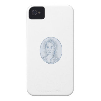 18th Century Russian Empress Bust Oval Drawing iPhone 4 Cover