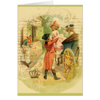 18th Century Wedding Couple in Carriage Greeting Card