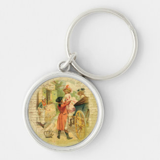 18th Century Wedding Couple in Carriage Silver-Colored Round Key Ring