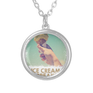18th February - Eat Ice Cream For Breakfast Day Silver Plated Necklace