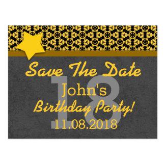 18th Save the Date Dark Gray Gold STARS G80K Postcard