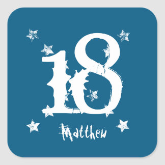 18th Teen Birthday Trendy Grunge Letters Stars Z01 Square Sticker