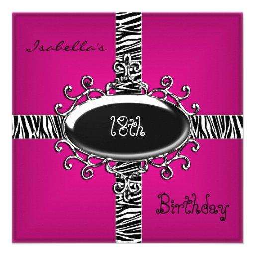 18th Teen Birthday Wild Pink Animal Black 4 Personalized Invite