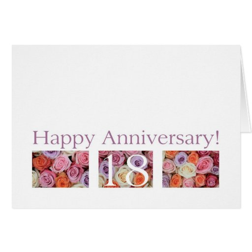 Gift For 17th Wedding Anniversary: 18th Wedding Anniversary Card Pastel Roses