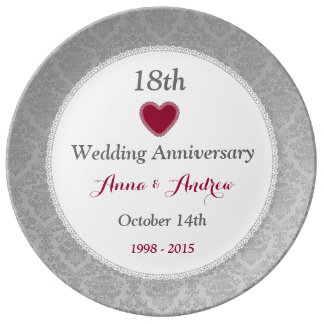 18th wedding anniversary silver damask w10f porcelain plate