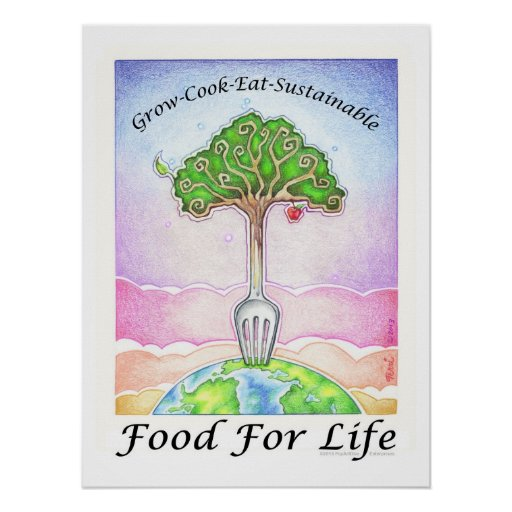 """18X24"""" POSTER - GROW, COOK, EAT SUSTAINABLE"""