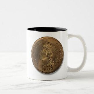 1900 Indian Head Penny Two-Tone Coffee Mug