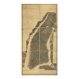 1900's Manhattan, NY Birds Eye View Panoramic Map Poster