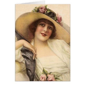 1900's Vintage Victorian Woman Greeting Card