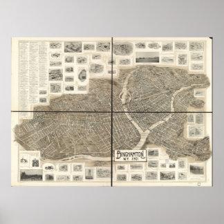 1901 Binghamton, NY Birds Eye View Panoramic Map Poster