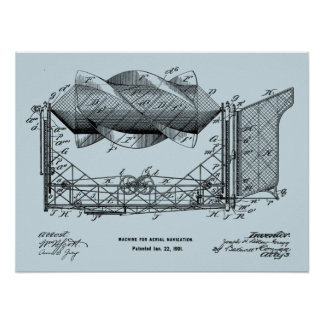 1901 Flying Machine Airplane Art Drawing Print