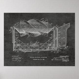1901 Flying Machine Airplane Patent Drawing Print