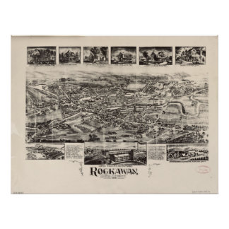 1902 Rockaway, NJ Birds Eye View Panoramic Map Poster