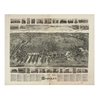 1904 Hoboken, NJ Birds Eye View Panoramic Map Poster