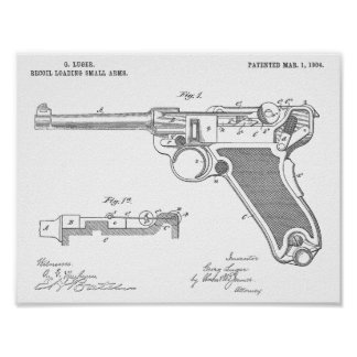 1904 Luger Gun Patent Art Drawing Print