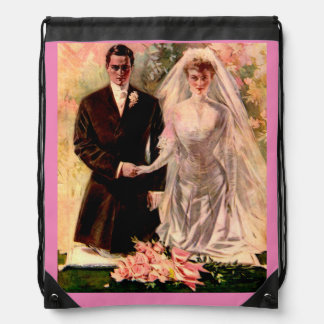 1906 Edwardian wedding Drawstring Bag
