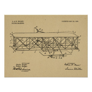 1906 Wright Brothers Airplane Patent Drawing Print