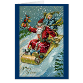 1907 Santa Claus on Toboggan Card