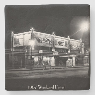 1907 - Woodward Ave Detroit at Night Stone Coaster