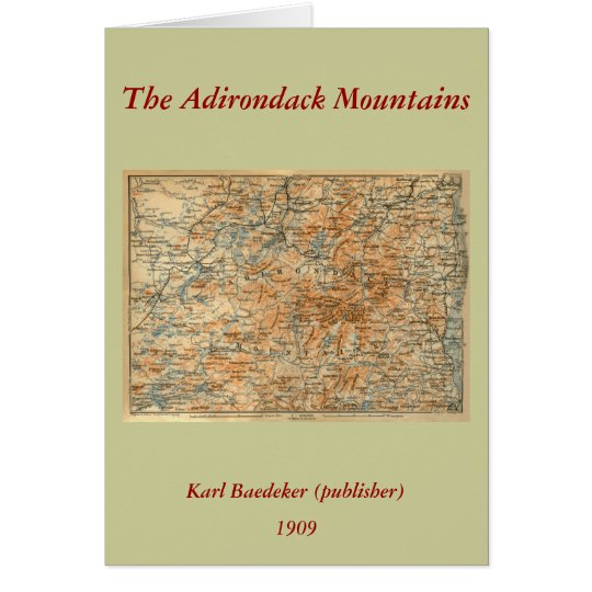 1909 Adirondacks Map from Baedeker's Travel Guide Greeting Card