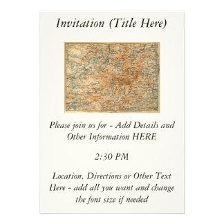 1909 Adirondacks Map from Baedeker's Travel Guide Invite