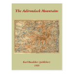 1909 Adirondacks Map from Baedeker's Travel Guide Post Card