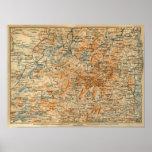 1909 Adirondacks Map from Baedeker's Travel Guide Print