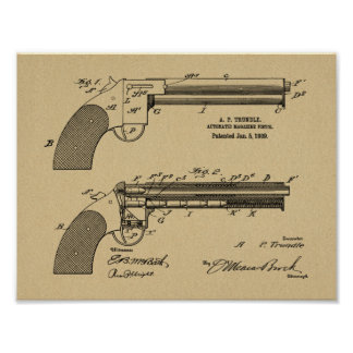 1909 Gun Auto Patent Art Drawing Print